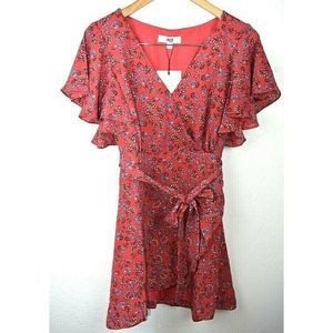 Jack BB Dakota Faux Wrap Dress Red Floral Belted
